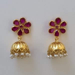 Gold Jumkis (5.620 Grams) with Synthetic Red Stones set in 22Kt Yellow Gold – Jhumkas