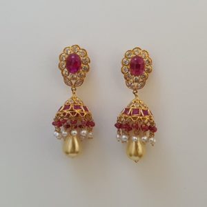 Gold Jumkis (8.100 Grams) with Synthetic Stones set in 22Kt Yellow Gold – Jhumkas