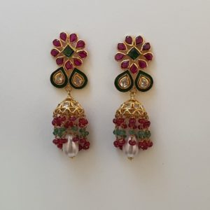 Gold Jumkis (7.860 Grams) with Synthetic Stones set in 22Kt Yellow Gold – Jhumkas