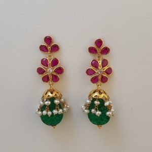 Gold Jumkis (5.500 Grams) with Synthetic Stones set in 22Kt Yellow Gold – Jhumkas