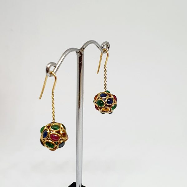 Multi Color Sapphire Earrings, Hoops Style In 18Kt Yellow Gold (2.780 Grams)