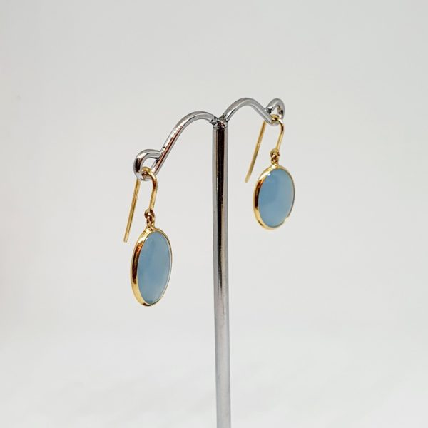 Aquamarine Earrings, Hoops Style In 18Kt Yellow Gold (1.800 Grams)