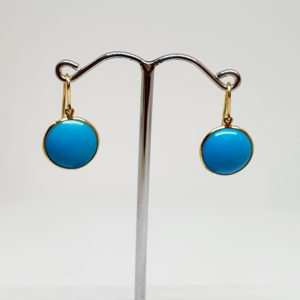 Round Turquoise Earrings, Hoops Style In 18Kt Yellow Gold (1.560 Grams)