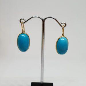 Oval Turquoise Earrings – Hoops