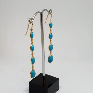 Oval Turquoise Graded Sized Earrings, Hoops Style In 18Kt Yellow Gold (2.550 Grams)