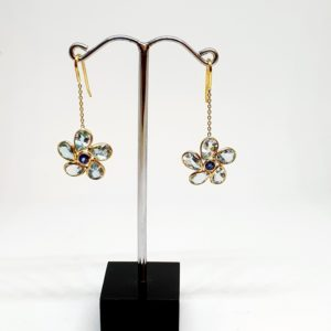 Aquamarine Earrings With Blue Sapphire, Hoops Style In 18Kt Yellow Gold (2.220 Grams)