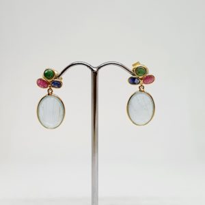 Aquamarine Earrings With Ruby, emerald and Blue Sapphire, Hoops Style In 18Kt Yellow Gold (    Grams)