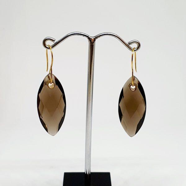 Smoky Quartz Earrings, Hoops Style In 18Kt Yellow Gold (1.000 Grams)