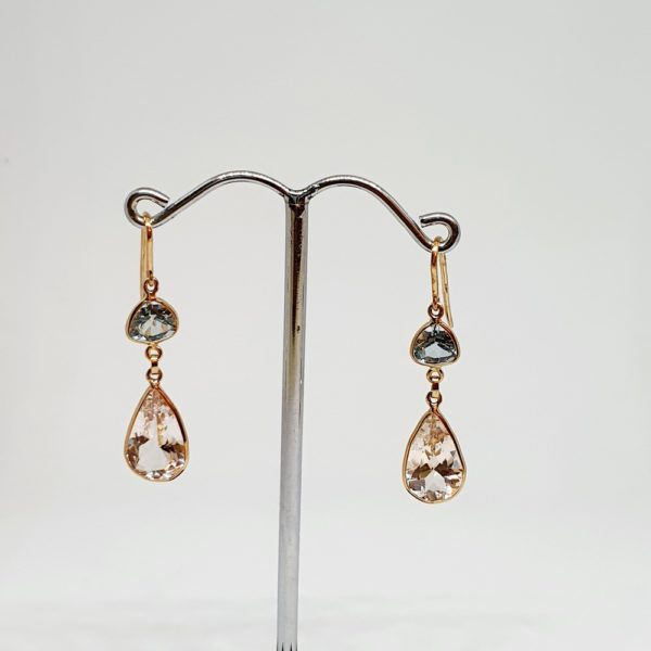 Blue Topaz Earrings With Morganite, Hoops Style In 18Kt Yellow Gold (1.710 Grams)