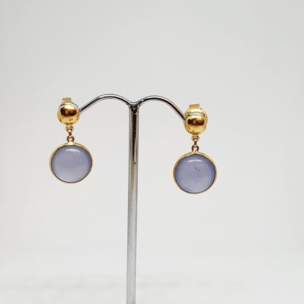 Iolite Earrings, Hoops Style In 18Kt Yellow Gold (2.950 Grams)