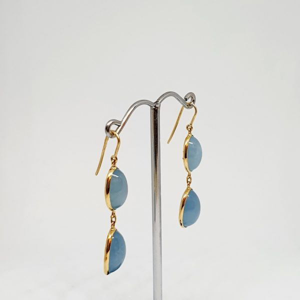 Aquamarine Cabachon Earrings, Hoops Style In 18Kt Yellow Gold (2.590 Grams)