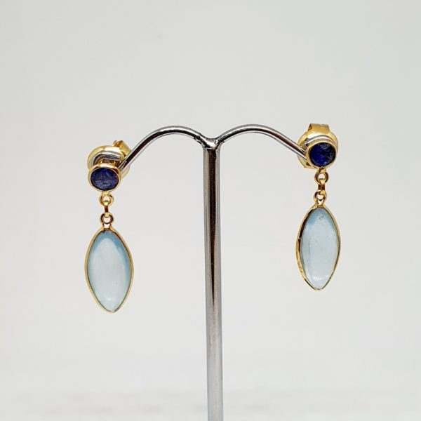 Aquamarine Earrings with Blue Sapphire, Hoops Style In 18Kt Yellow Gold (3.390 Grams)