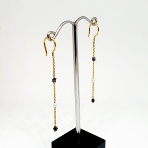 Black Diamond Earrings with Pearl, Hoops Style in 18Kt Yellow Gold (0.970 Grams)