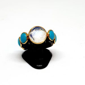 Turquoise Ring With Moonstone In 18Kt Yellow Gold (1.850 Grams)