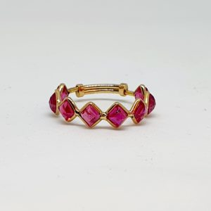 Square Cut Ruby Ring In 18Kt Yellow Gold (1.100 Grams)