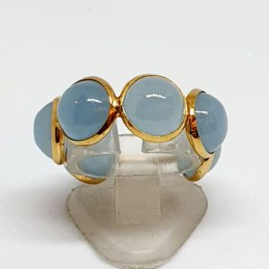 Aquamarine Cabachon Ring In 18Kt Yellow Gold (2.300 Grams)