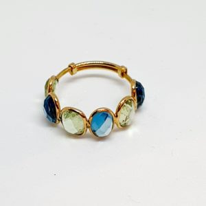 Blue Topaz Ring With Aquamarine In 18Kt Yellow Gold (1.980 Grams)