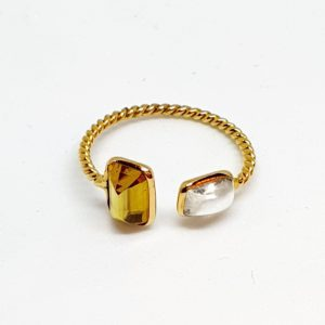 Citrine Ring With Moonstone In 18Kt Yellow Gold (1.250 Grams)