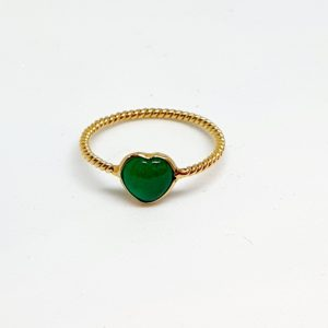Emerald Cabachon Ring In 18Kt Yellow Gold (1.220 Grams)