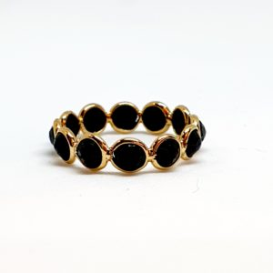 Black Spinel Ring With Moonstone In 18Kt Yellow Gold (1.110 Grams)