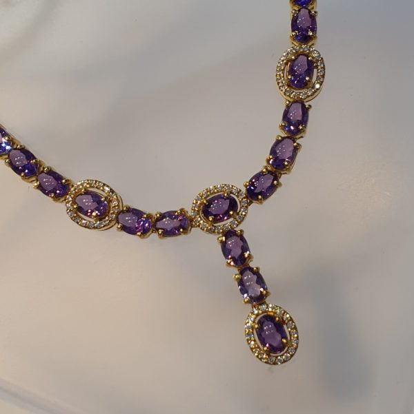 Amethyst with Cubic Zirconia Necklace in 18KT Yellow Gold