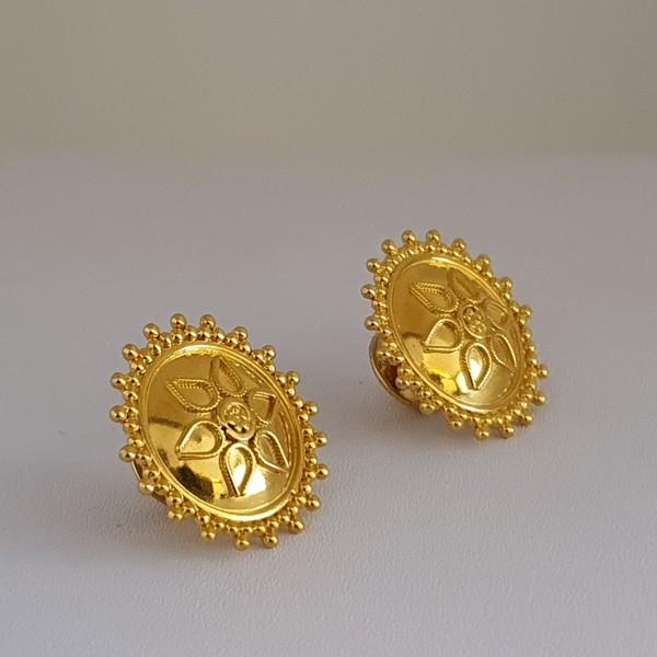 Gold Earrings (4.140 Grams), 22Kt Plain Yellow Gold Jewellery – Ear Tops