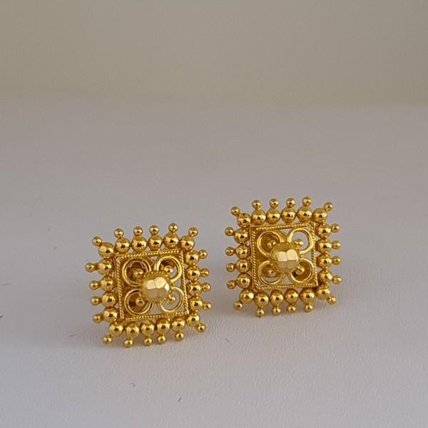 Gold Earrings (3.130 Grams), 22Kt Plain Yellow Gold Jewellery – Ear Tops
