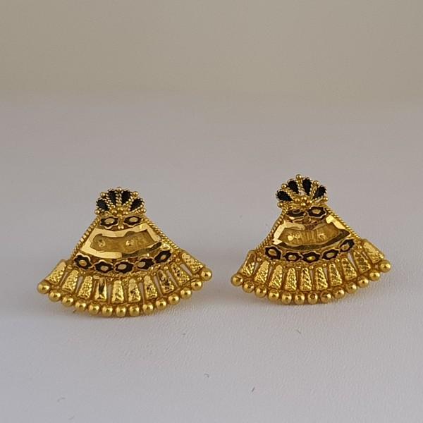 Gold Earrings (3.400 Grams), 22Kt Plain Yellow Gold Jewellery – Ear Tops