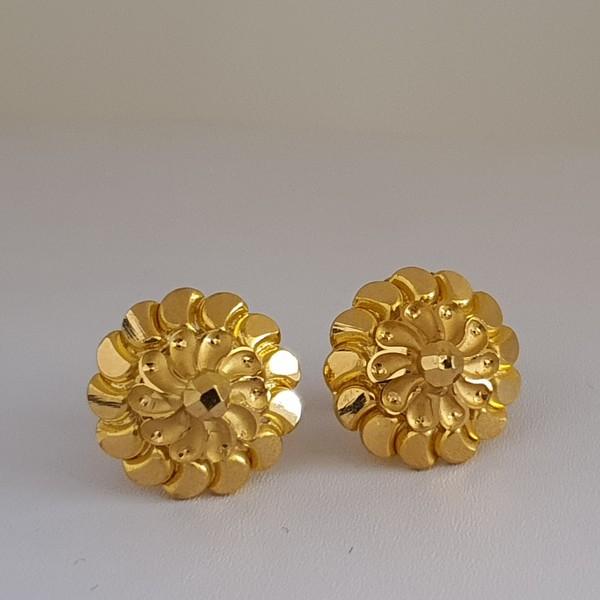 Gold Earrings (3.350 Grams), 22Kt Plain Yellow Gold Jewellery – Ear Studs