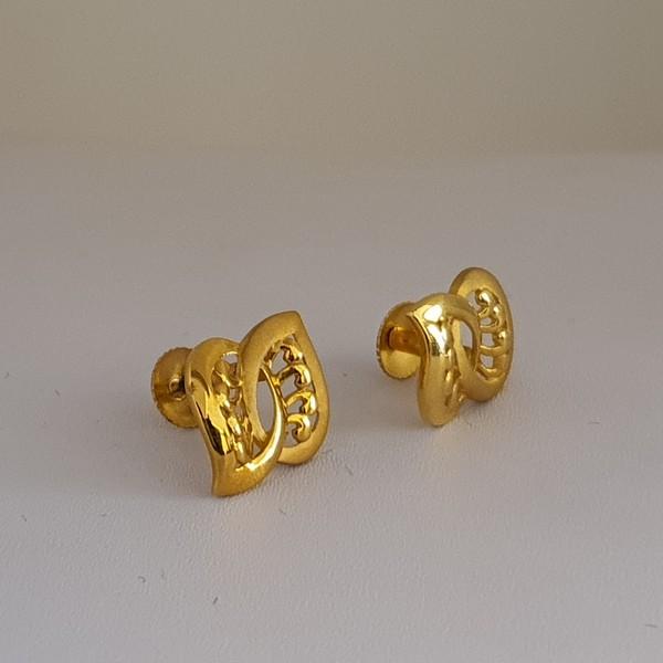 Gold Earrings (2.730 Grams), 22Kt Plain Yellow Gold Jewellery – Ear Studs