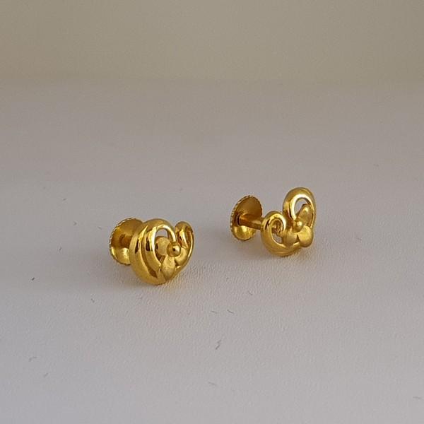 Gold Earrings (2.150 Grams), 22Kt Plain Yellow Gold Jewellery – Ear Studs