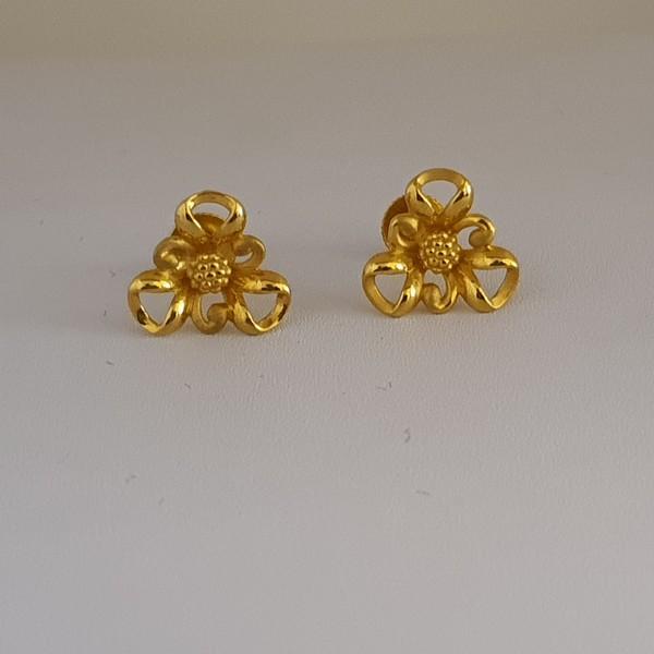 Gold Earrings (2.550 Grams), 22Kt Plain Yellow Gold Jewellery – Ear Tops