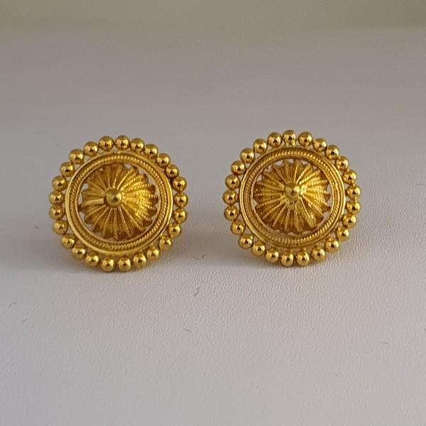 Gold Earrings (3.100 Grams), 22Kt Plain Yellow Gold Jewellery – Ear Tops
