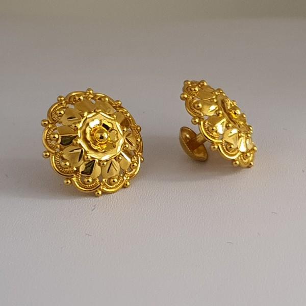 Gold Earrings (4.750 Grams), 22Kt Plain Yellow Gold Jewellery – Ear Tops