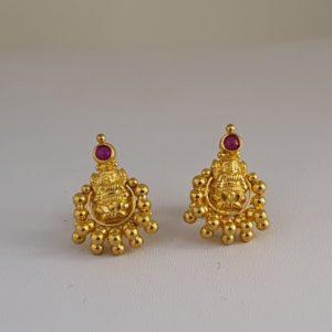 Gold Earrings (2.230 Grams), 22Kt Plain Yellow Gold Jewellery – Ear Studs