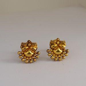 Gold Earrings (2.580 Grams), 22Kt Plain Yellow Gold Jewellery – Ear Tops