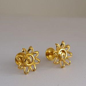 Gold Earrings (2.750 Grams), 22Kt Plain Yellow Gold Jewellery – Ear Tops