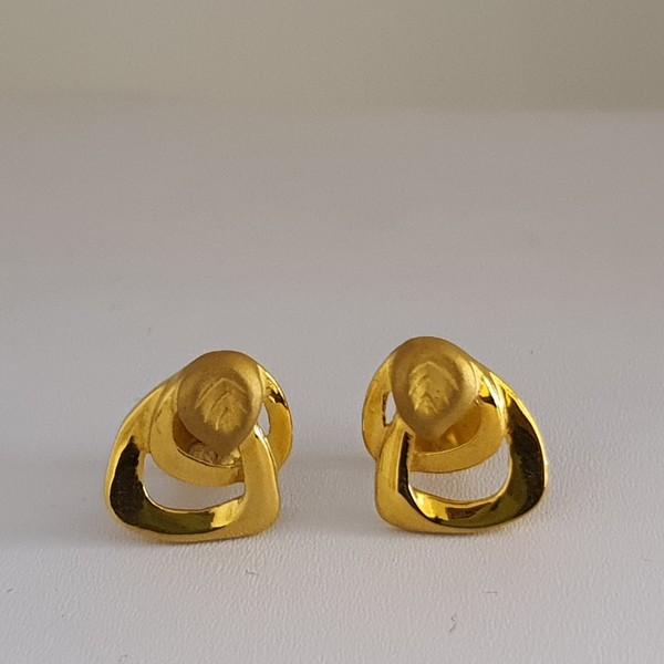 Gold Earrings (3.080 Grams), 22Kt Plain Yellow Gold Jewellery – Ear Studs