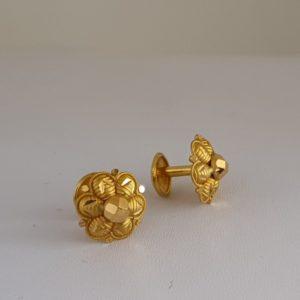 Gold Earrings (1.780 Grams), 22Kt Plain Yellow Gold Jewellery – Ear Studs