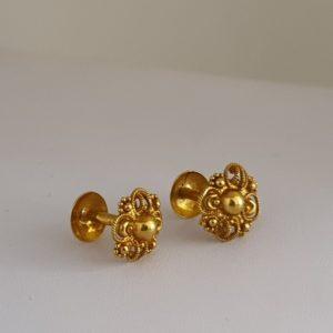Gold Earrings (2.080 Grams), 22Kt Plain Yellow Gold Jewellery – Ear Tops