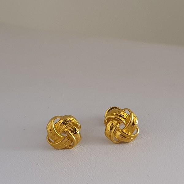 Gold Earrings (2.430 Grams), 22Kt Plain Yellow Gold Jewellery – Ear Tops