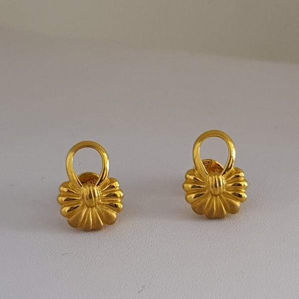 Gold Earrings (3.020 Grams), 22Kt Plain Yellow Gold Jewellery – Ear Tops