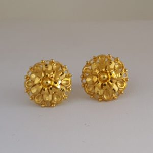 Gold Earrings (3.530 Grams), 22Kt Plain Yellow Gold Jewellery – Ear Tops
