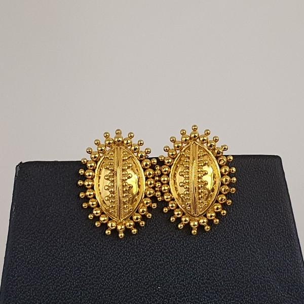 Gold Earrings (4.010 Grams), 22Kt Plain Yellow Gold Jewellery – Ear Tops