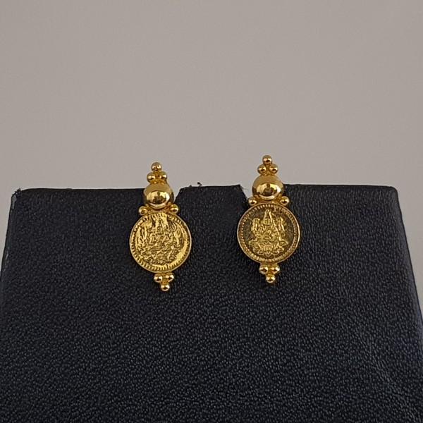 Gold Earrings (2.300 Grams), 22Kt Plain Yellow Gold Jewellery – Ear Tops