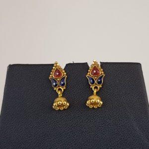 Gold Earrings (3.030 Grams), 22Kt Plain Yellow Gold Jewellery – Ear Tops
