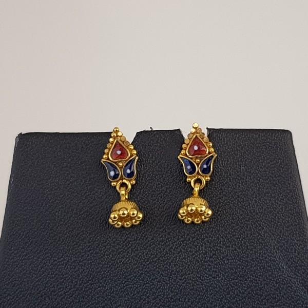 Gold Earrings (2.060 Grams), 22Kt Plain Yellow Gold Jewellery – Ear Tops