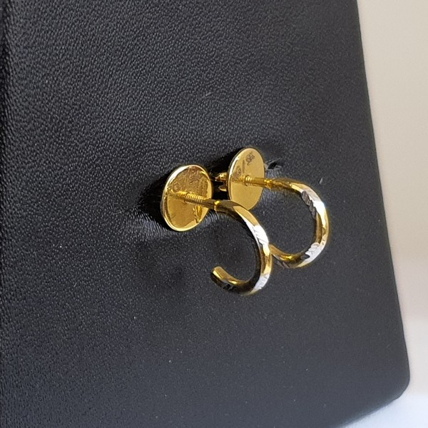Gold Earrings (3.300 Grams), 22Kt Plain Yellow Gold Jewellery – Bali Earrings