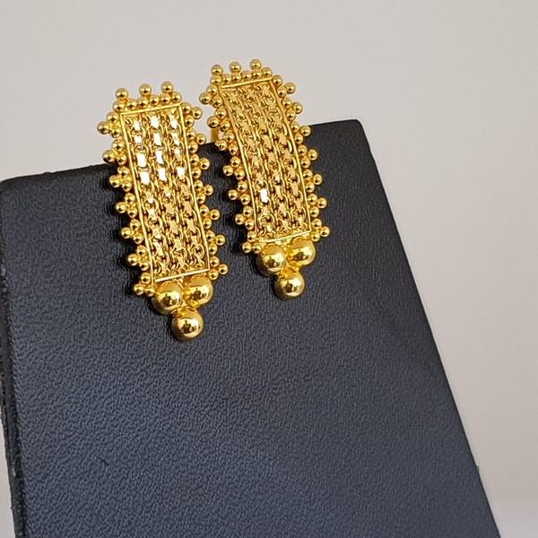 Gold Earrings (4.030 Grams), 22Kt Plain Yellow Gold Jewellery – Ear Tops