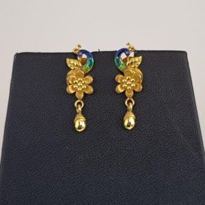 Gold Earrings (4.880 Grams), 22Kt Plain Yellow Gold Jewellery – Ear Tops